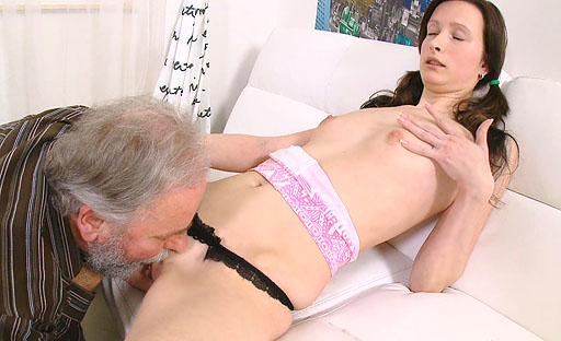 Kinky old dude gets favourable with a tight young pussy